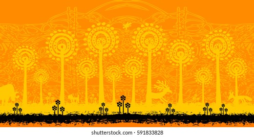 Landscape with animals (style petroglyphs).  Tribal grunge art - a wonderful world of nature.  Vector illustration - panorama of the magic forest.