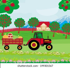 landscape with apple trees and man driving a tractor with a trailer full of vegetables