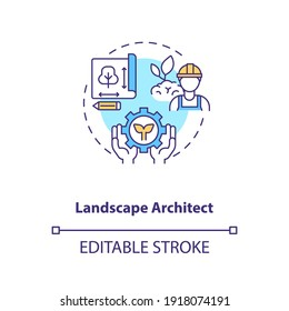 Landscape architect concept icon. Urban planning. Residence area construction. Civil engineering idea thin line illustration. Vector isolated outline RGB color drawing. Editable stroke