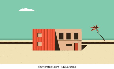 Landscape architecture, orange building on the beach with road and sea in background, vintage style