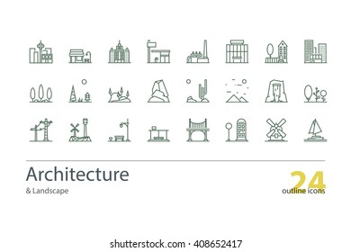 Landscape, Architecture outline icons. Colorless