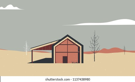 Landscape architecture, red house in desert with dead trees and mountains in background, vintage style