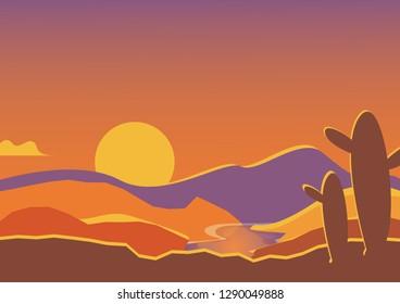 Landscape of arid desert with cactus on sky background.