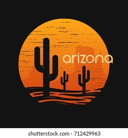 Landscape of Arizona state. T-shirt and apparel vector design, print, typography, poster, emblem
