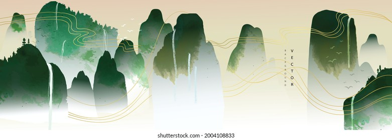 landscape Asian background ,Oriental Chinese and Japanese style abstract pattern background design  with mountain and waterfall decorate in water color texture