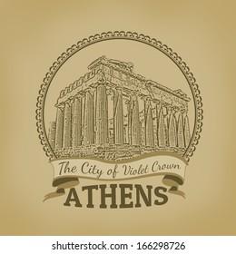 Landscape of Athens ( The City of Violet Crown ) on vintage postcard, vector illustration