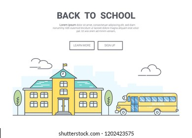 Landscape back to school concept. design for education theme landing page website. Thine Line art.