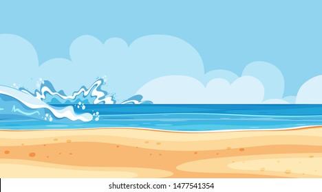 Landscape background design of seaside with big waves illustration