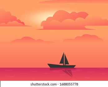 landscape background. Evening or morning view Cartoon vector illustration. Sunset or sunrise in ocean, nature pink clouds flying in sky to shining sun above sea with rocks sticking up of water surface