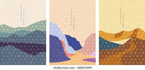 Landscape background with Japanese pattern vector. Geometric template with grunge texture.