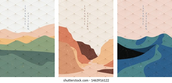 Landscape background with Japanese pattern vector. Geometric pattern and abstract template. Green hill wallpaper in vintage ornaments. Abstract arts.