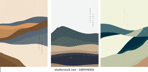Landscape background with Japanese pattern vector. Geometric template in traditional of Japan. Mountain in Asian poster design. Abstract arts.