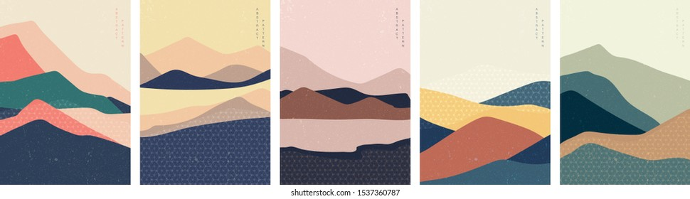 Landscape background with Japanese pattern vector in banner style. Abstract template with geometric elements.Mountain illustration.