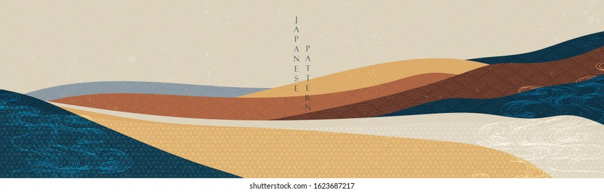 Landscape background with Japanese pattern vector. Geometric element with mountain banner.