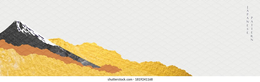 Landscape background with Japanese pattern vector. Gold and black watercolor texture with Fuji mountain banner in vintage style.