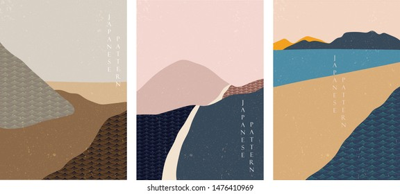 Landscape background with Japanese wave pattern vector.