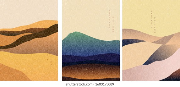 Landscape background with Japanese wave pattern vector. Mountain template with curve elements gradient style.