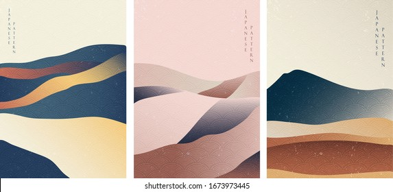 Landscape background with Japanese wave pattern vector. Mountain template in vintage style.