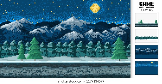landscape background, pixel art, digital vintage 8-bit game style. interface for the application or a website. night in the mountains and in the forest.