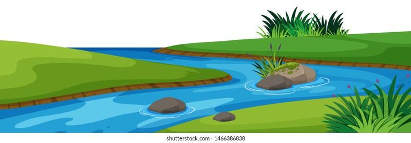 Landscape background with river in park illustration