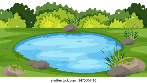 Landscape background with small pond in park illustration