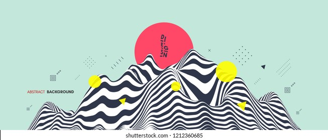 Landscape background. Terrain. Asian vector illustration.