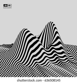 Landscape background. Terrain. Black and white background. Pattern with optical illusion. 3D Vector illustration.