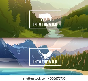 Landscape banners on themes: nature of Canada, survival in the wild, hunting, camping, trip. Vector illustration.