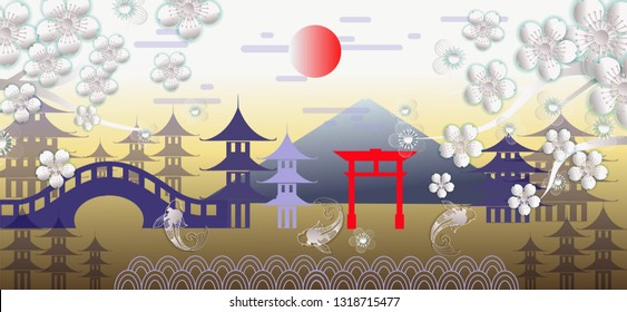 Landscape beautiful of cherry blossom in Japan -vector illustration