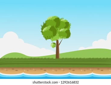 Landscape with big tree big tree on the middle grass on sky background.