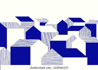 Landscape blue line art ink drawing, small village