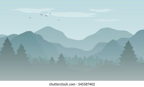 Landscape with blue silhouettes of misty mountains and forest - vector illustration