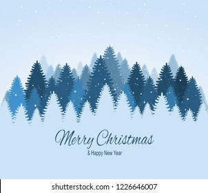 Landscape with blue snowy pines, firs, coniferous forest, falling snow. Holiday winter forest Merry Christmas and Happy New Year.