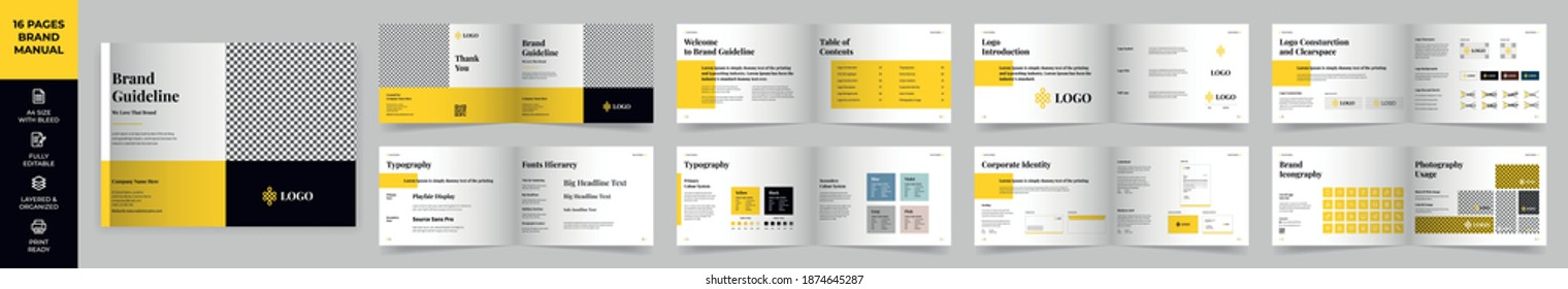 Landscape Brand Manual Template, Simple style and modern layout, Brand Book, Brand Identity, Brand Guideline, Guide Book