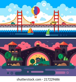 Landscape with bridge. Day and night. Clouds. Vector flat illustrations