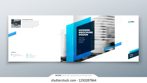Landscape Brochure design. Blue corporate business template brochure, report, catalog, magazine. Brochure layout modern with dynamic shape abstract background. Creative brochure vector concept