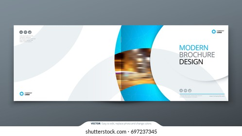 Landscape Brochure design. Blue corporate business rectangle template brochure, report, catalog, magazine. Brochure layout modern circle shape abstract background. Creative brochure vector concept