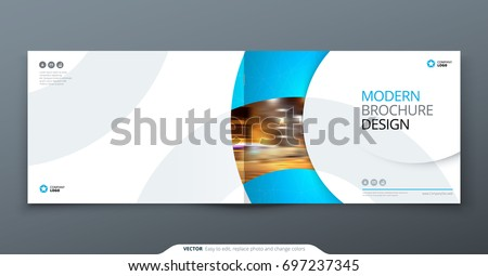 landscape brochure design blue corporate business のベクター画像