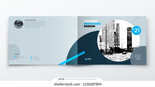Landscape Brochure design. Blue grey corporate business template brochure, report, catalog, magazine. Brochure layout modern with dynamic shape abstract background. Creative brochure vector concept