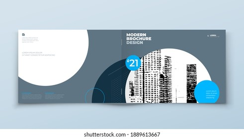 Landscape Brochure design. Blue and Grey horizontal corporate business template brochure, report, catalog, magazine. Brochure layout modern with dynamic abstract background. Creative vector concept.