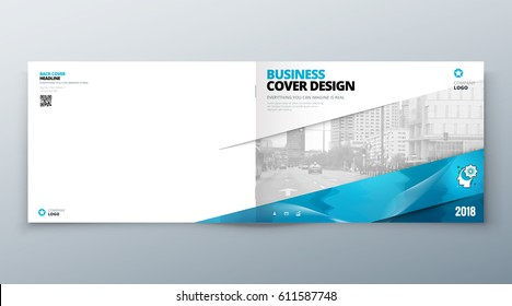 Landscape Brochure design.  Corporate business template for brochure report catalog magazine book booklet. Horizontal layout with modern elements and abstract background. Creative vector concept