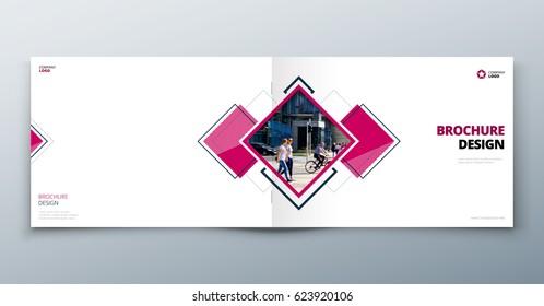 Landscape Brochure design. Corporate business template for rectangle brochure, report, catalog, magazine. Corporate Business Annual Report Cover, pink brochure or flyer design