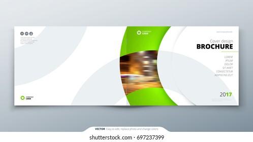 Landscape Brochure design. Green corporate business rectangle template brochure, report, catalog, magazine. Brochure layout modern circle shape abstract background. Creative brochure vector concept