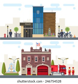 Landscape with buildings police and fire station. Protection of life, health and property of people. Vector flat illustration
