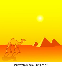 Landscape with Camel and Egyptian pyramids