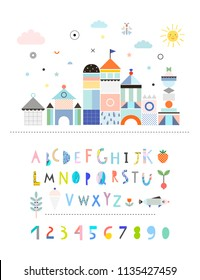 Landscape with castle plus Hand Drawn Artistic Alphabet. Cutout letters. Cute and fun poster for kids. Baby room decor. Vector