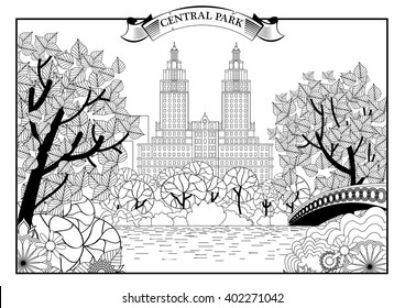 Landscape of Central Park in New York. USA. Black and white graphic. Vector illustration.