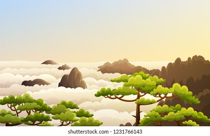 Landscape of china mountains with sea of clouds and green trees. Morning scene with sunrise. Vector illustration.