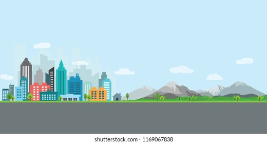 landscape city with bulding, mountain and road vector illustration