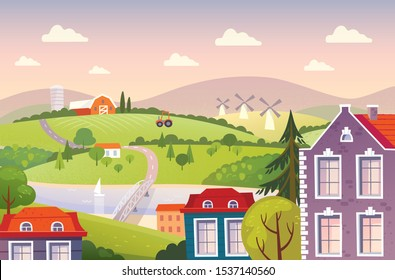Landscape with city and countryside. Red farm buildings. Summer fields with the river and mills.